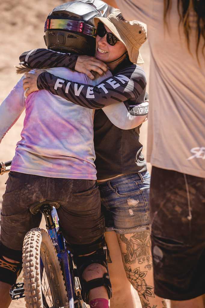 Chelsea Kimball CJ Selig celebrate after Chelsea hits the Canyon Gap at Red Bull Formation in Virgin Utah USA on 31 May 2021