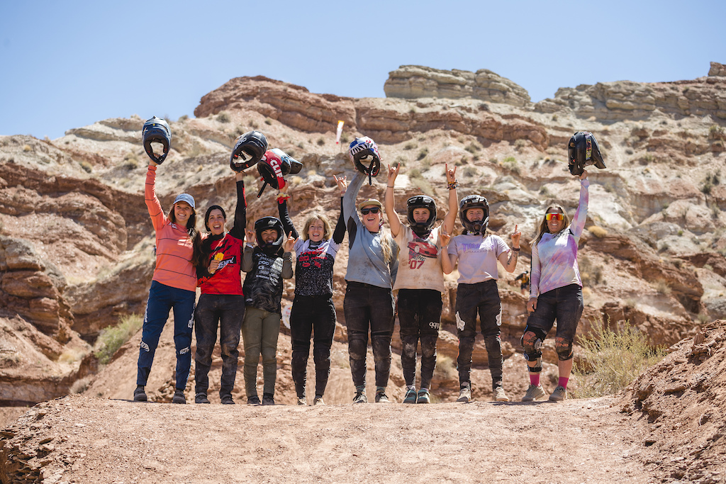 Vaea Verbeeck Cami Nogueira Sam Soriano Casey Brown Hannah Bergemann Jess Blewitt Vinny Armstrong Chelsea Kimball pose for a portrait on the final day at Red Bull Formation in Virgin Utah USA on 31 May 2021