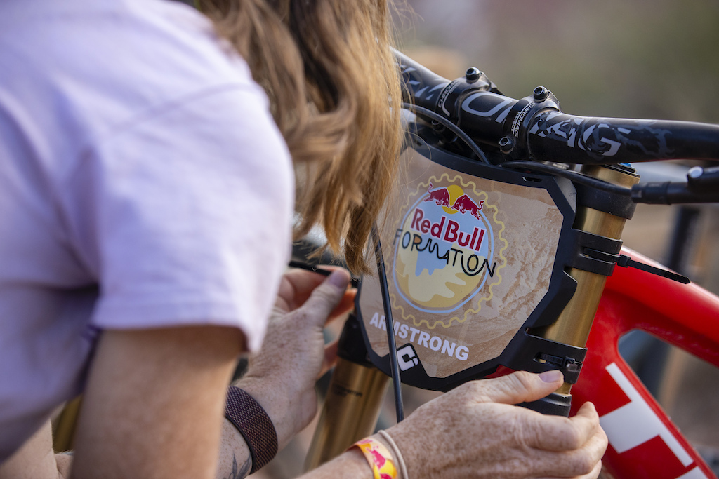 Vinny Armstrong sets up her bike at Red Bull Formation in Virgin Utah USA on 29 May 2021.