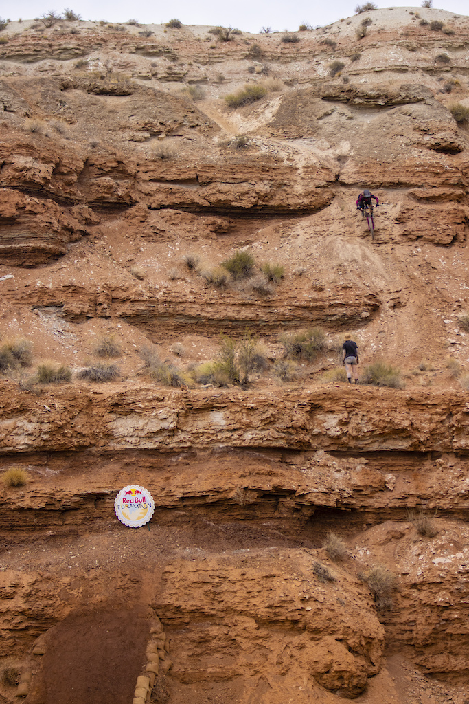 CJ Selig watches as Chelsea Kimball works on her line at Red Bull Formation in Virgin Utah USA on 29 May 2021.