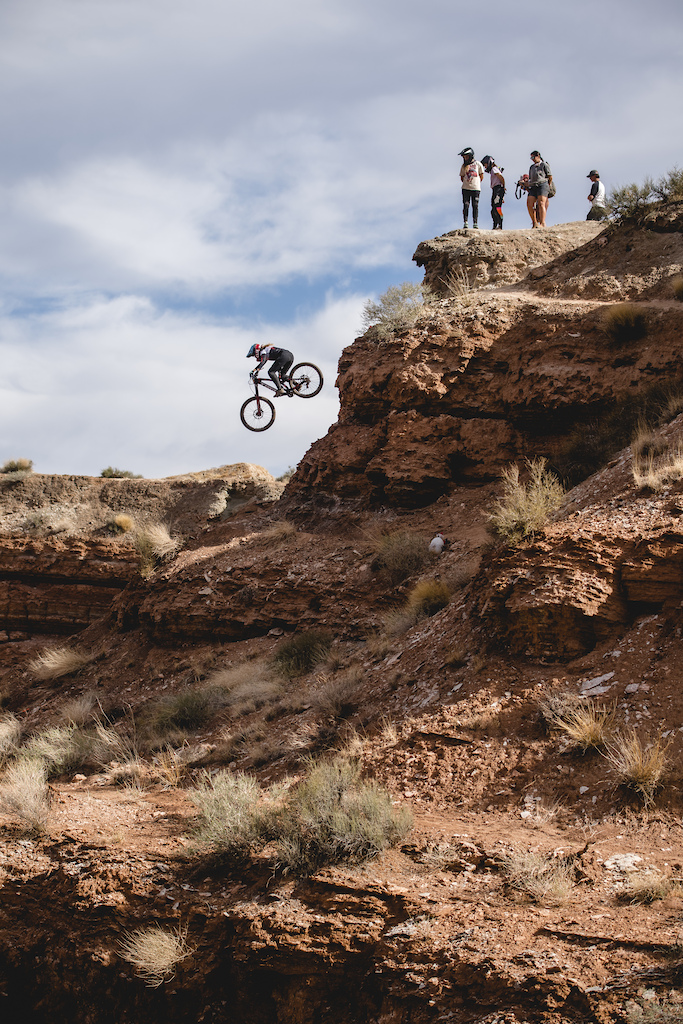 Casey Brown hits the top of the double drop on ride day 1 at Red Bull Formation in Virgin Utah USA on 29 May 2021