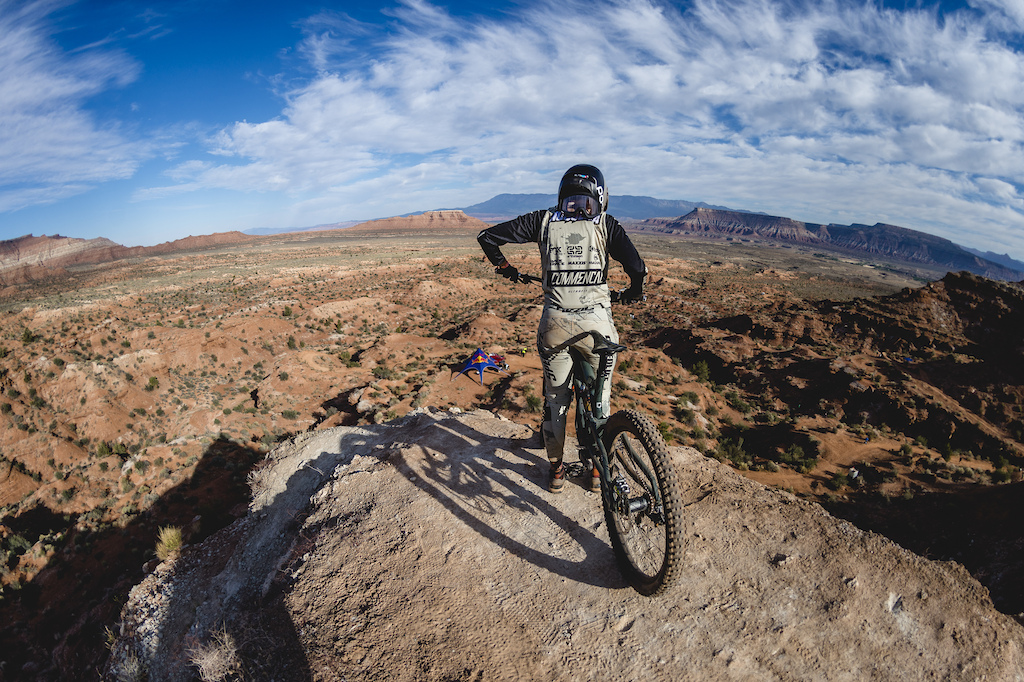 Cami Nogueira prepares to drop her line on ride day 1 at Red Bull Formation in Virgin Utah USA on 29 May 2021