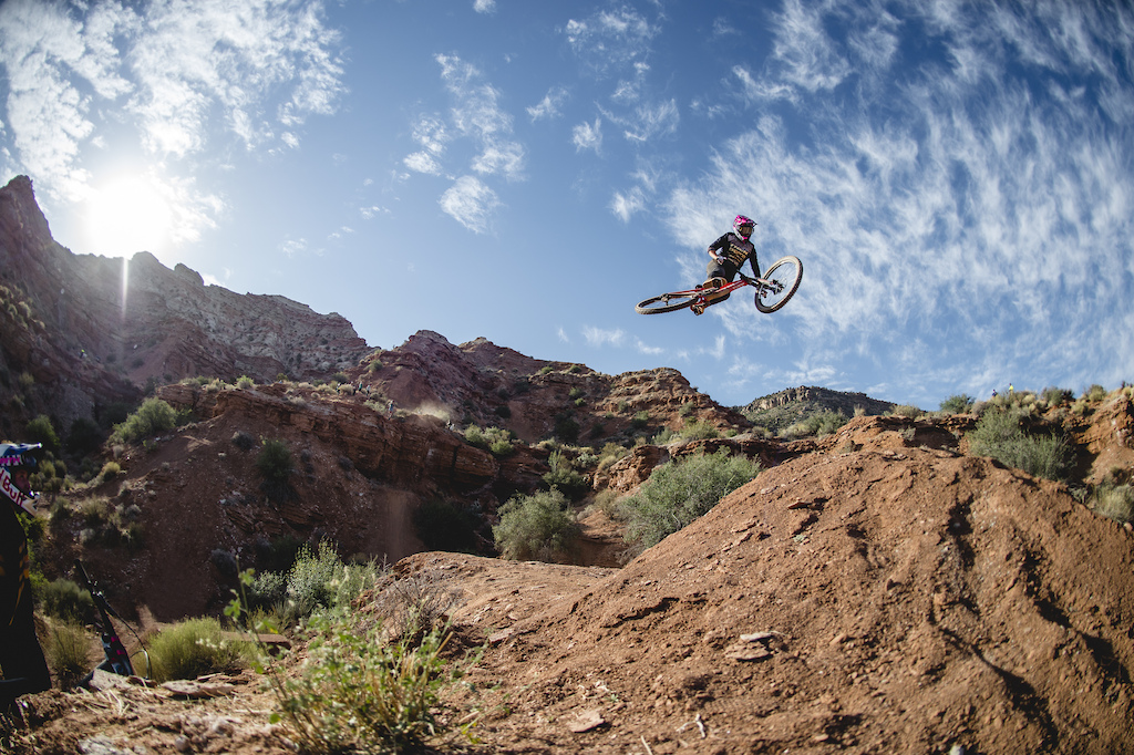Harriet Burbidge-Smith hits the drop to step-up on ride day 1 at Red Bull Formation in Virgin Utah USA on 29 May 2021