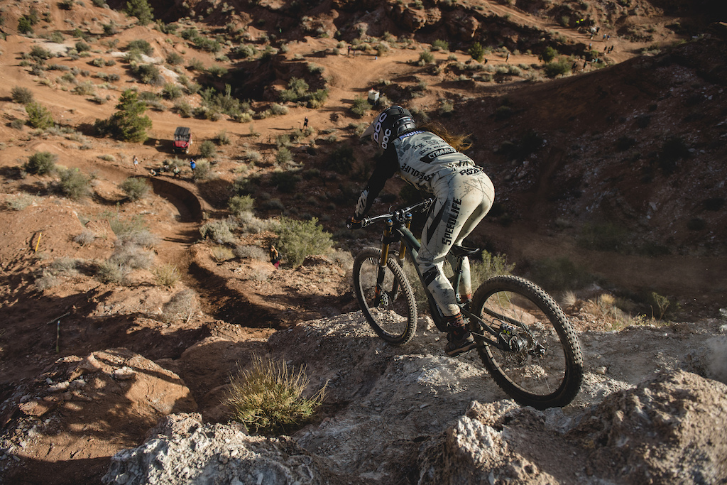Cami Nogueira drops into her line for the first time on ride day 1 at Red Bull Formation in Virgin Utah USA on 29 May 2021