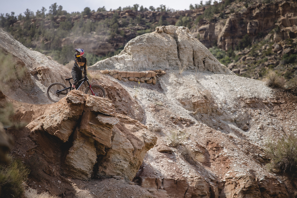 Hannah Bergemann does a test run on part of her line at Red Bull Formation in Virgin Utah USA on 29 May 2021