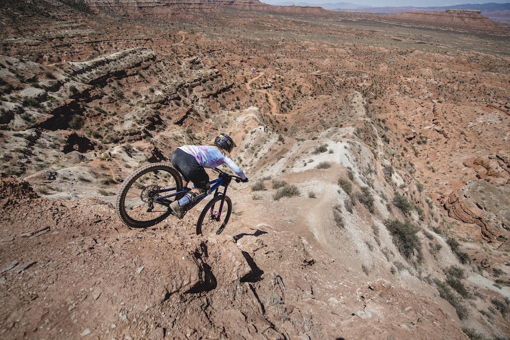 Chelsea Kimball rides the ridge at Red Bull Formation in Virgin Utah USA on 30 May 2021