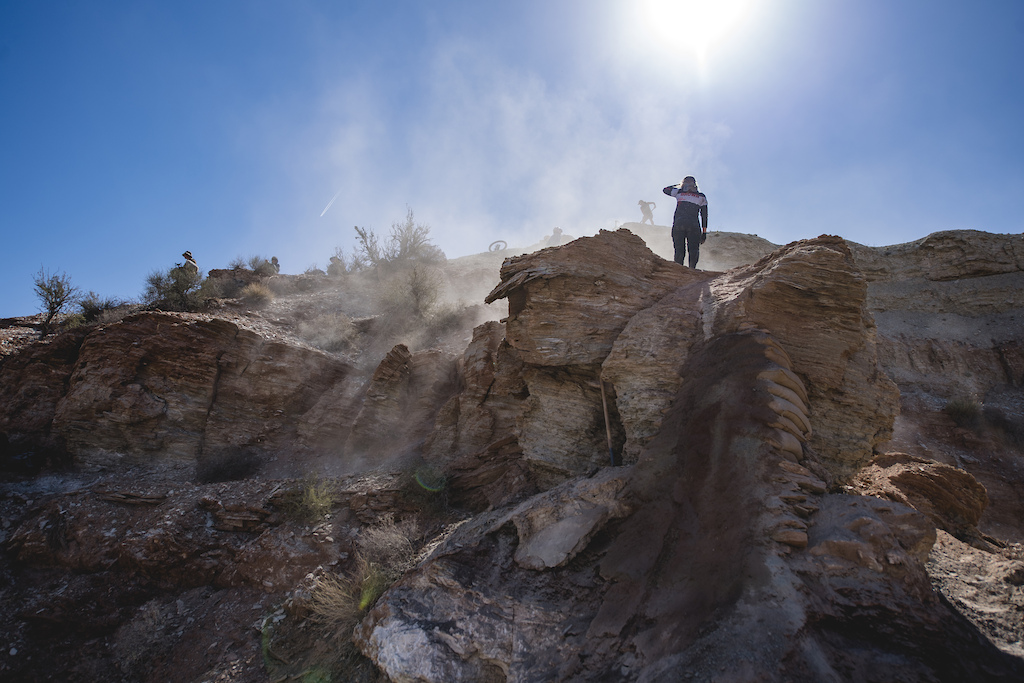 Casey Brown looks at the top of her line as the crew makes adjustments to the run inat Red Bull Formation in Virgin Utah USA on 30 May 2021