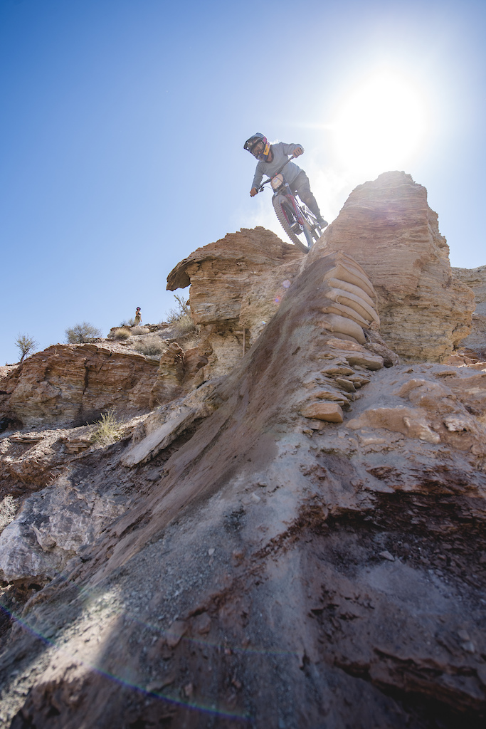 Hannah Bergemann drops over a feature dubbed The Ovary on ride day 2 at Red Bull Formation in Virgin Utah USA on 30 May 2021