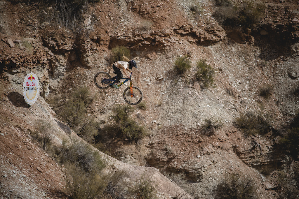Jess Blewitt hits The Plastic Bag Drop on ride day 2 at Red Bull Formation in Virgin Utah USA on 30 May 2021