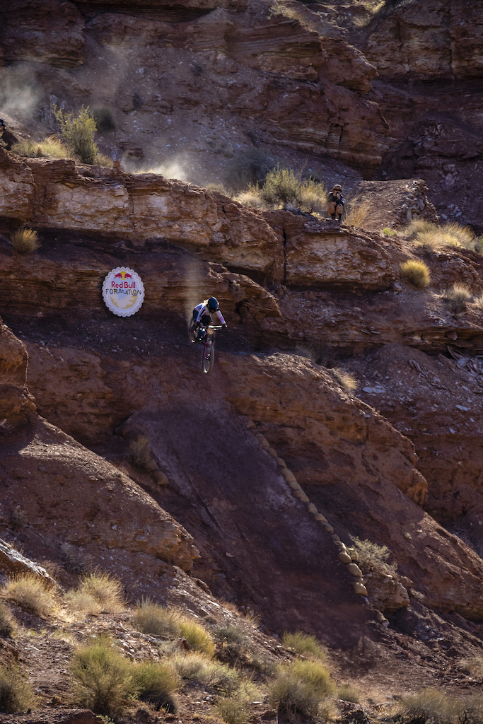 Chelsea Kimball hits her big drop at Red Bull Formation in Virgin Utah USA on 31 May 2021.