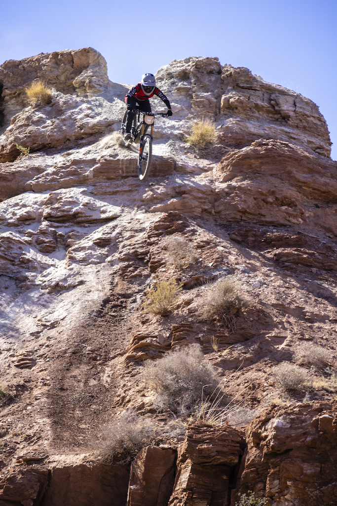 Cami Nogueira rides her line at Red Bull Formation in Virgin Utah USA on 31 May 2021.