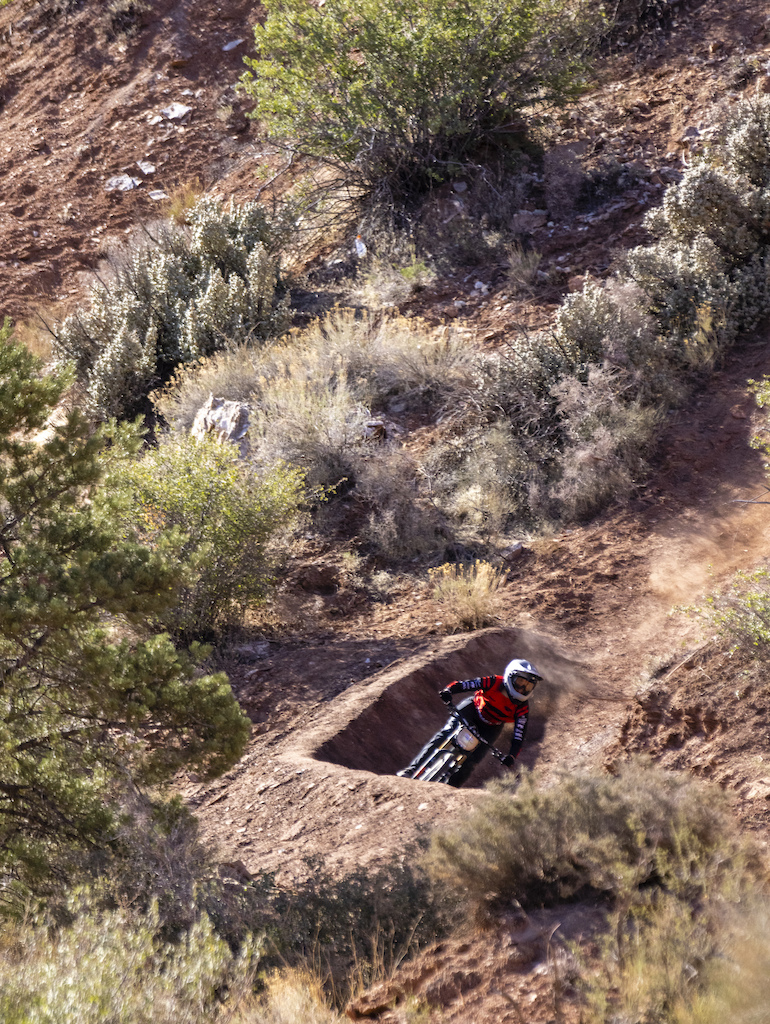 Cami Nogueira hits a berm at Red Bull Formation in Virgin Utah USA on 31 May 2021.