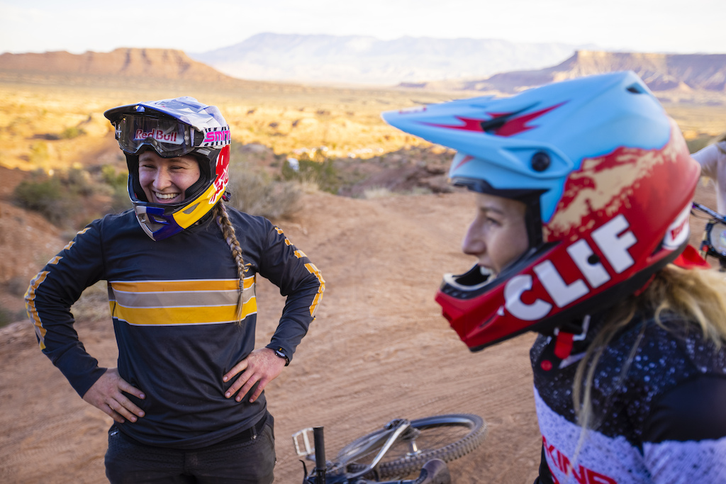 Hannah Bergemann and Casey Brown laugh and prepare to ride at Red Bull Formation in Virgin Utah USA on 29 May 2021.