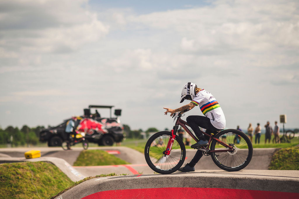Tommy Zula races at the Red Bull UCI Pump Track at The Jones Center in Springdale Arkansa USA on 22 May 2021