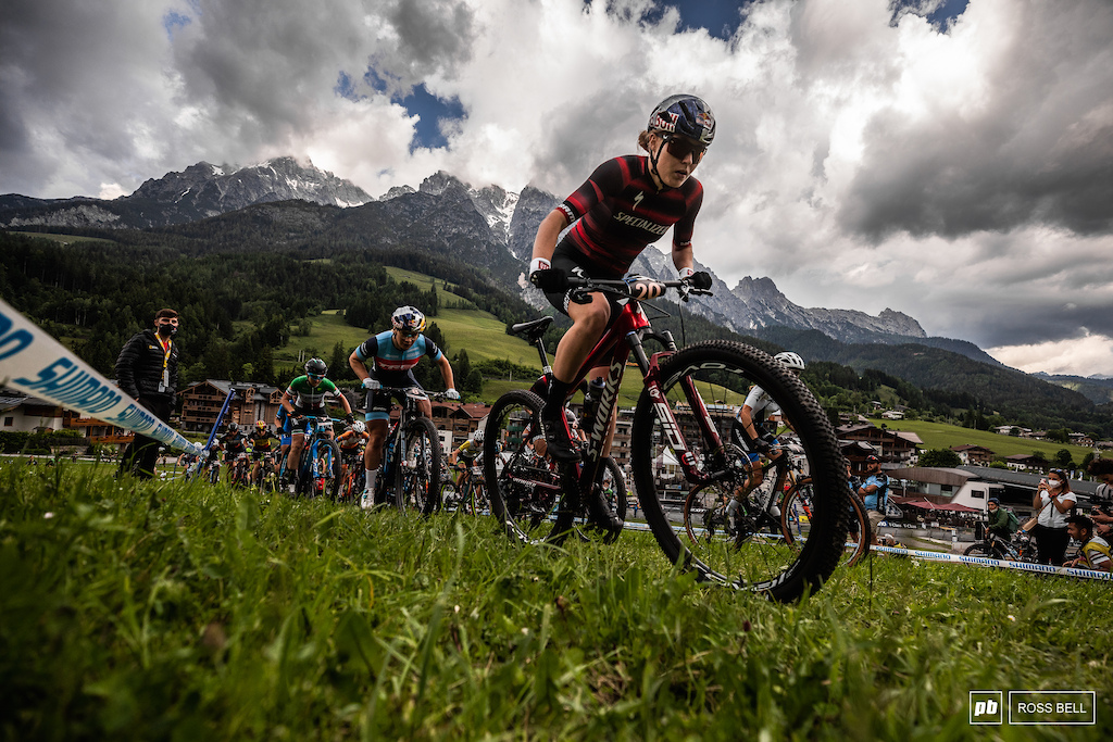 Laura Stigger leads the field up the first climb the young Austrian keen to make an impression on home soil.