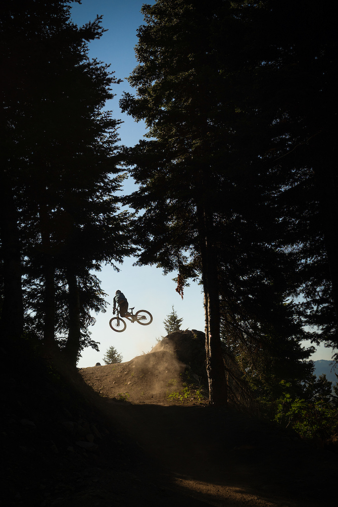 Brian Selmer in the tree widow air on the new Deer Jumps trail.