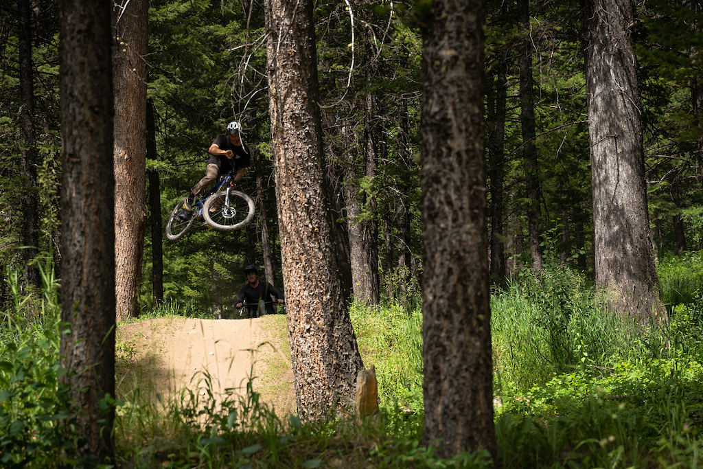 Finding air between the trees on True Grit.