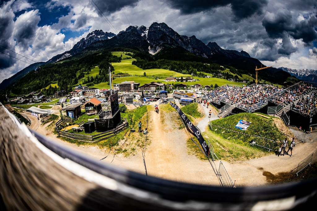 Finish line at first World Cup race of 2021 in Leogang Austria.