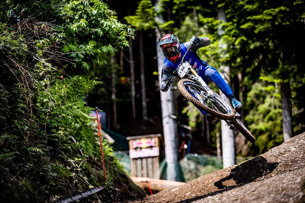 KHS Pro MTB RIder Nik Nestoroff getting in a race run at the first World Cup race of 2021 in Leogang Austria.
