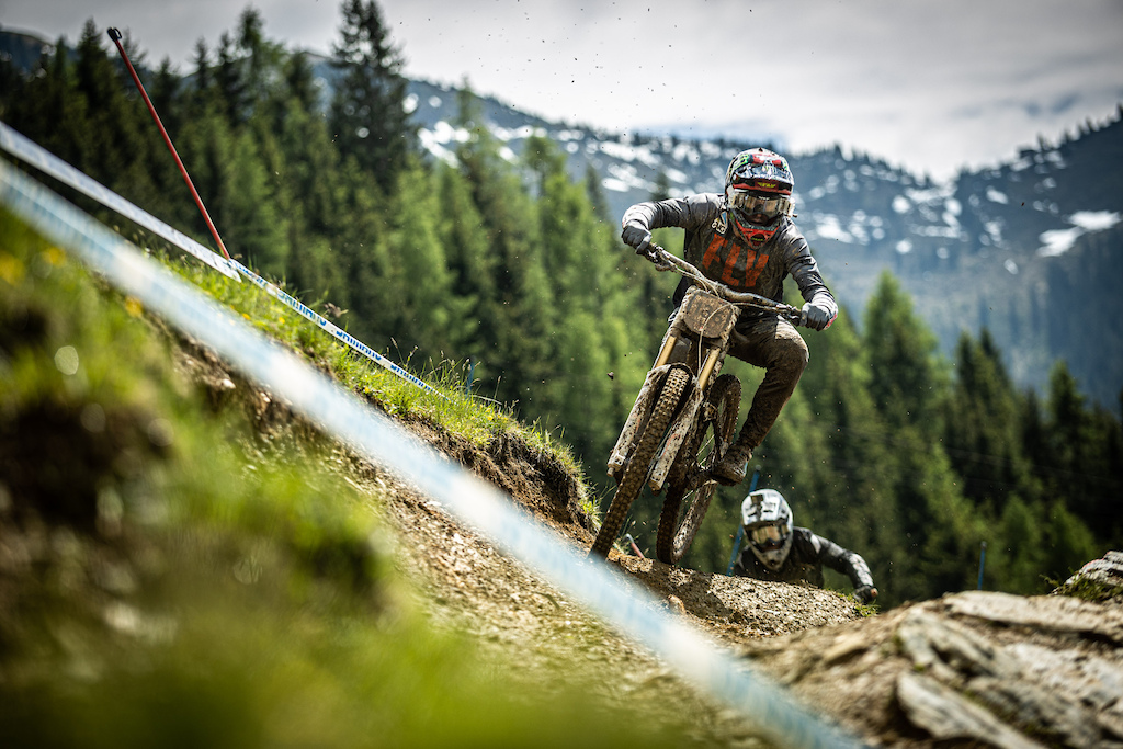 KHS Pro MTB RIder Nik Nestoroff getting in a practice run at the first World Cup race of 2021 in Leogang Austria.