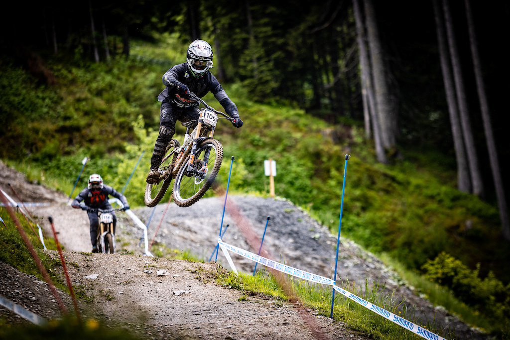 KHS Pro MTB RIder Steven Walton getting in a practice run at the first World Cup race of 2021 in Leogang Austria.