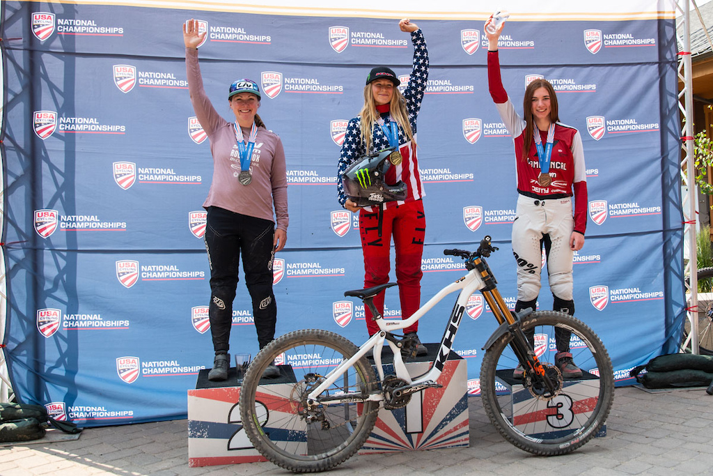 KHS Pro MTB rider Kailey Skelton on the podium as the new 2021 US Women s National Downhill Champion in Winter Park Colorado