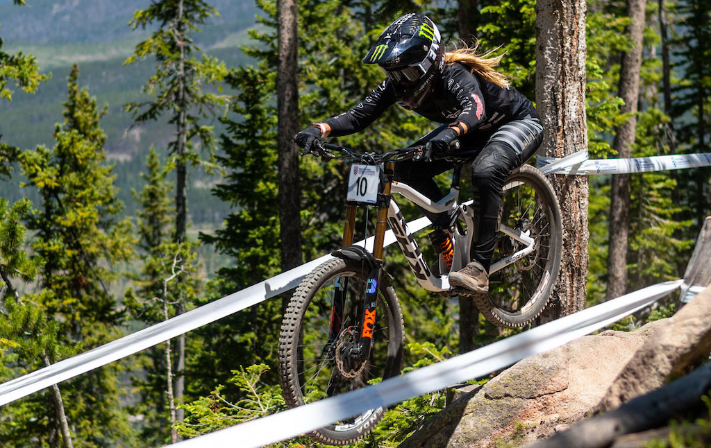 KHS Pro MTB rider Kailey Skelton practice run at the 2021 US Nationals in Winter Park Colorado.