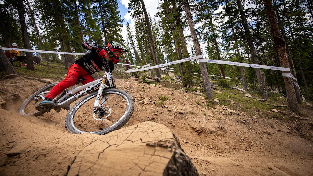 KHS Pro MTB rider Nik Nestoroff practice run at the 2021 US Nationals in Winter Park Colorado.