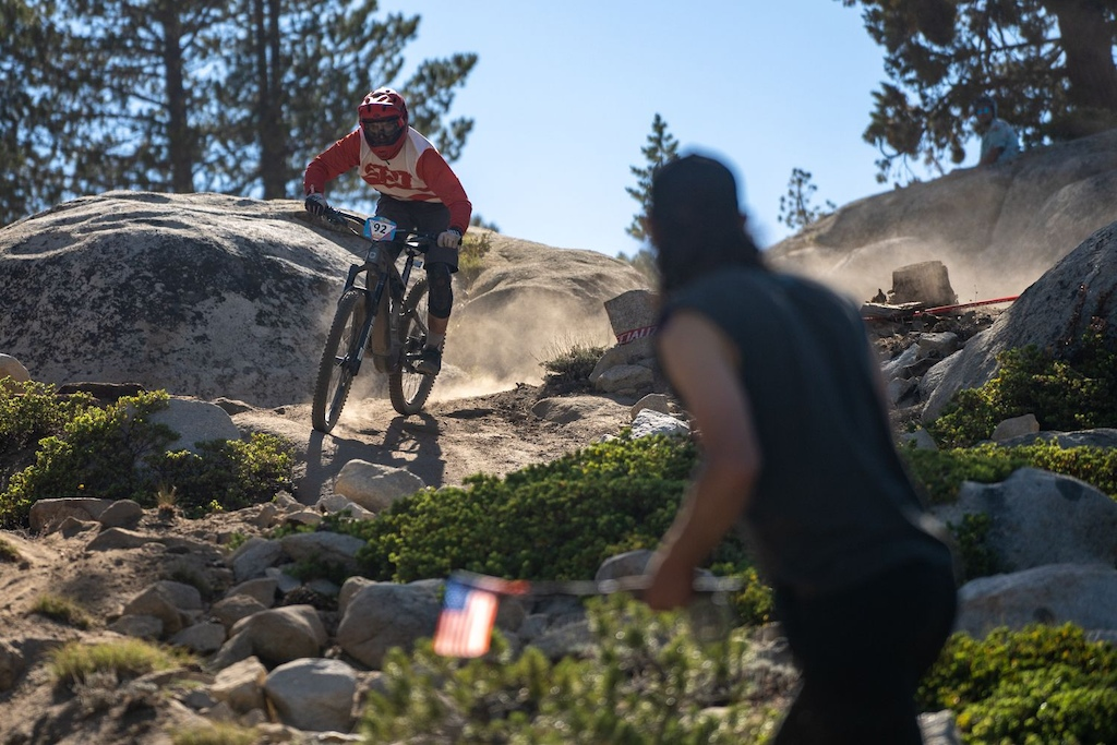 Randy gets his heckle on near the bottom of stage 4 which is a rider favorite. Fast rocky and just flat out wild.