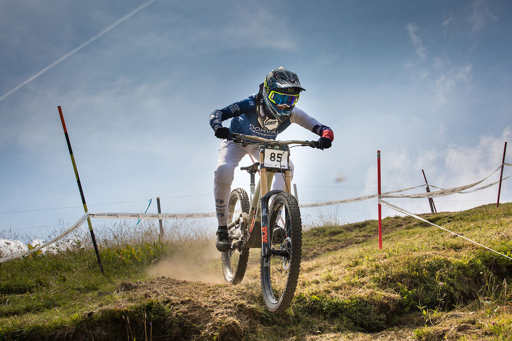 Monika Hrastnik of team DH Visit Pohorje Dorval AM Commencal at 2021 Downhill Sorica round 1 of Unior Downhill Cup and Slovenian National Championships race. Photo by Marko Obid.