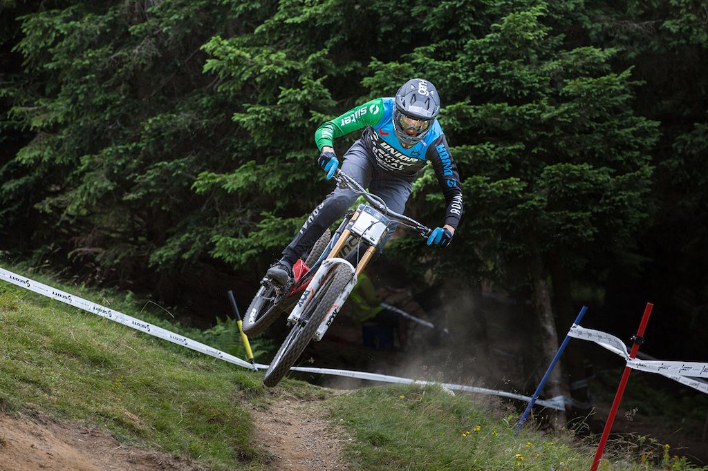 Jure abjek of team Unior - Sinter at 2021 Downhill Sorica round 1 of Unior Downhill Cup and Slovenian National Championships race. Photo by Marko Obid.