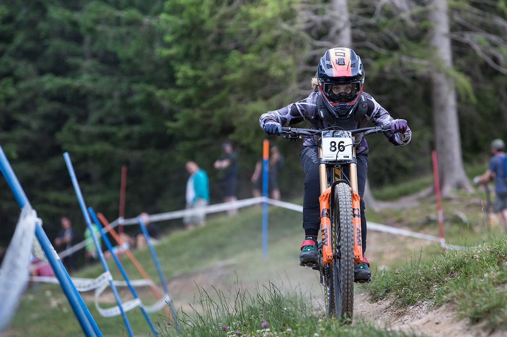 pela Horvat of Supersnurf team at 2021 Downhill Sorica round 1 of Unior Downhill Cup and Slovenian National Championships race. Photo by Marko Obid.
