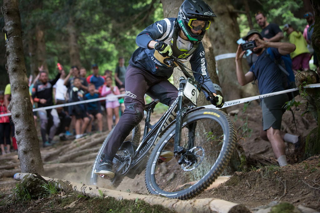 an Pir of Bikehanic - 20 Chocolate team at 2021 Downhill Sorica round 1 of Unior Downhill Cup and Slovenian National Championships race. Photo by Marko Obid.