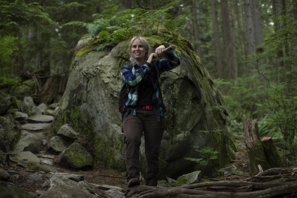 NSMBA trail builder Penny Deck on Mount Seymour 2021.
