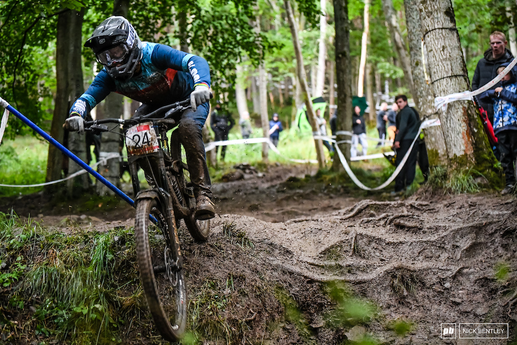The World Champ Reece Wilson was out racing at his local and was on it until the slick berm just above this section took him down he still made it into 3rd in the elite field. It s so good to see world cup riders back racing the national series.