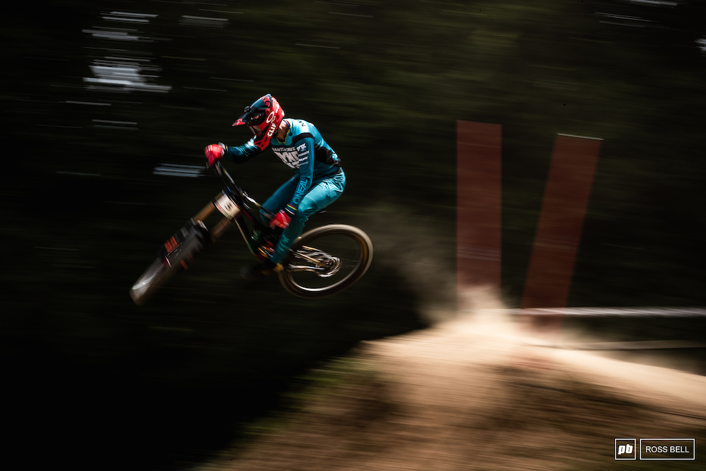 Greg Minnar keeping it low but far from slow in the opening meters of the track.