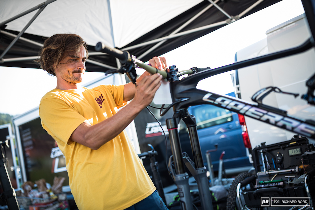 Adrien Dailly likes to give some love to his bike before the race. Setting his number 2 plate on Friday afternoon.