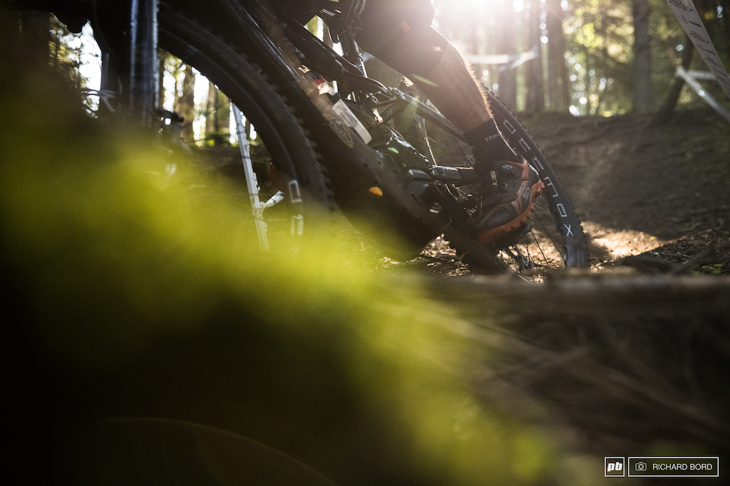 Some slippery roots some wet dirt and sometimes some loamy dirt made the stages interesting and fun to ride.
