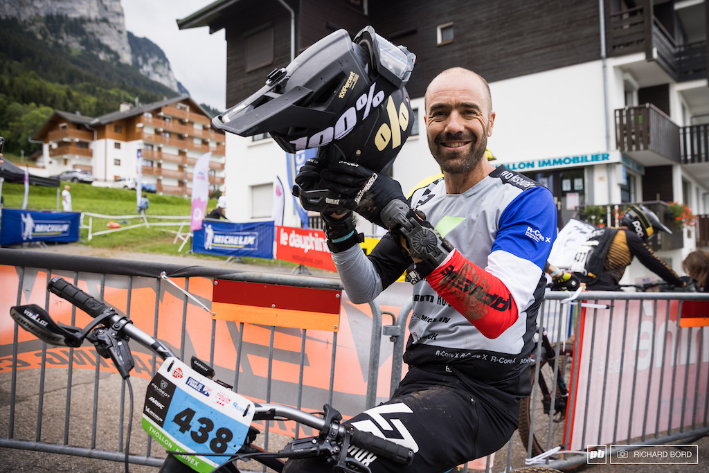 A happy and tired Nico Vouilloz after a nice week-end of battle for this E-MTB French Cup 3.
