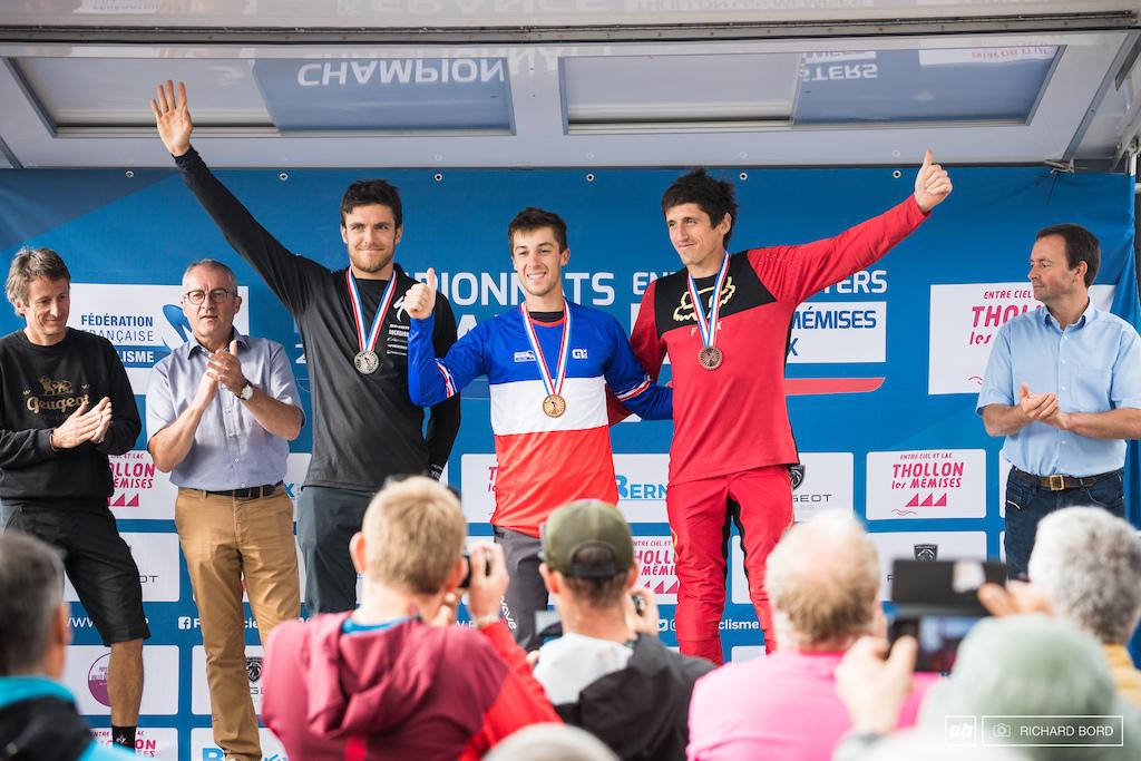 Elite Men podium of the 2021 French Enduro Championships 1st Alex Rudeau 2nd Kevin Miquel 3rd Romain Paulhan