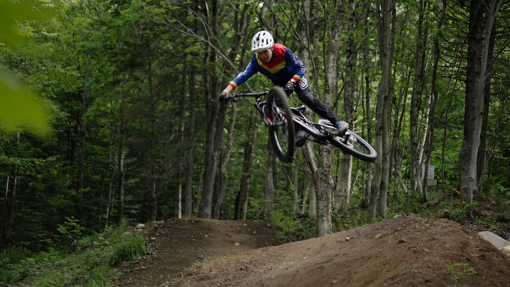 Benjamin Gigu re 13 years old from Ste-Marie near Quebec City. Freestyle skier mountain biker for the past 10 years. Just added dirt jumping to the mix and spending hours on the trampoline to perfect his style.