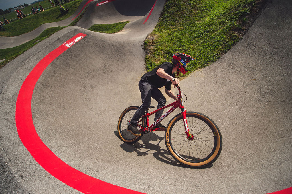 Participant races at the Red Bull UCI Pump Track at The Jones Center in Springdale Arkansa USA on 22 May 2021