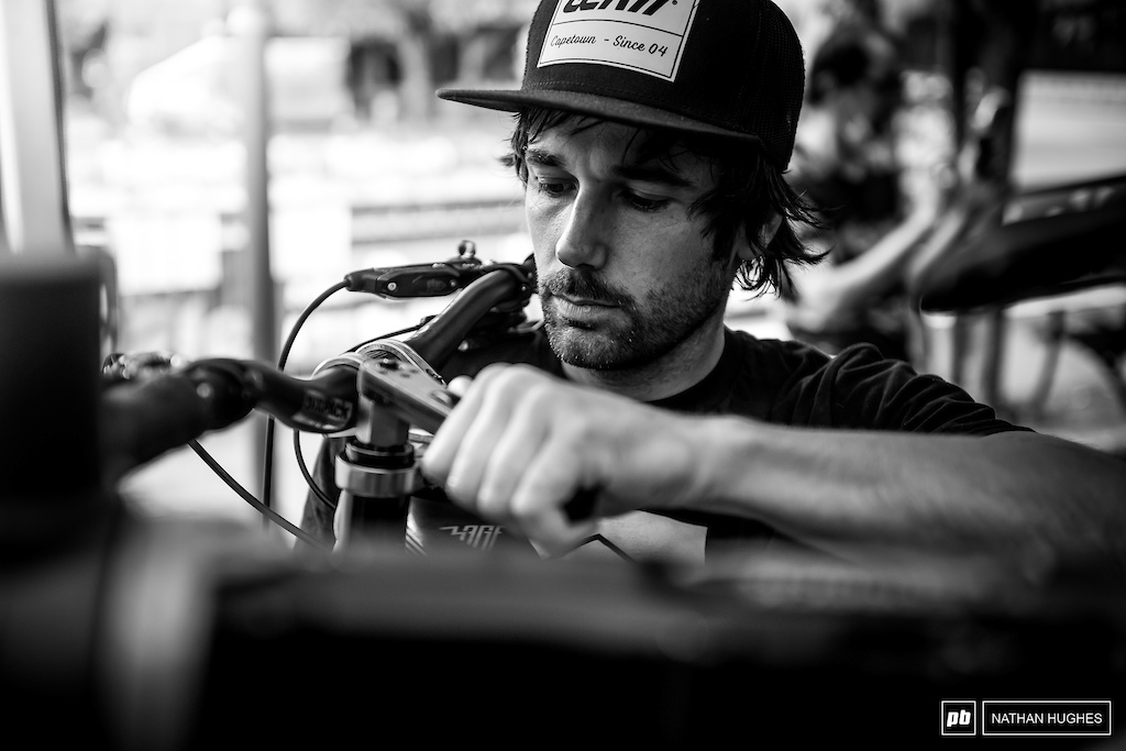 Team manager Ben Reid on the tools himself over at the Propain pits.