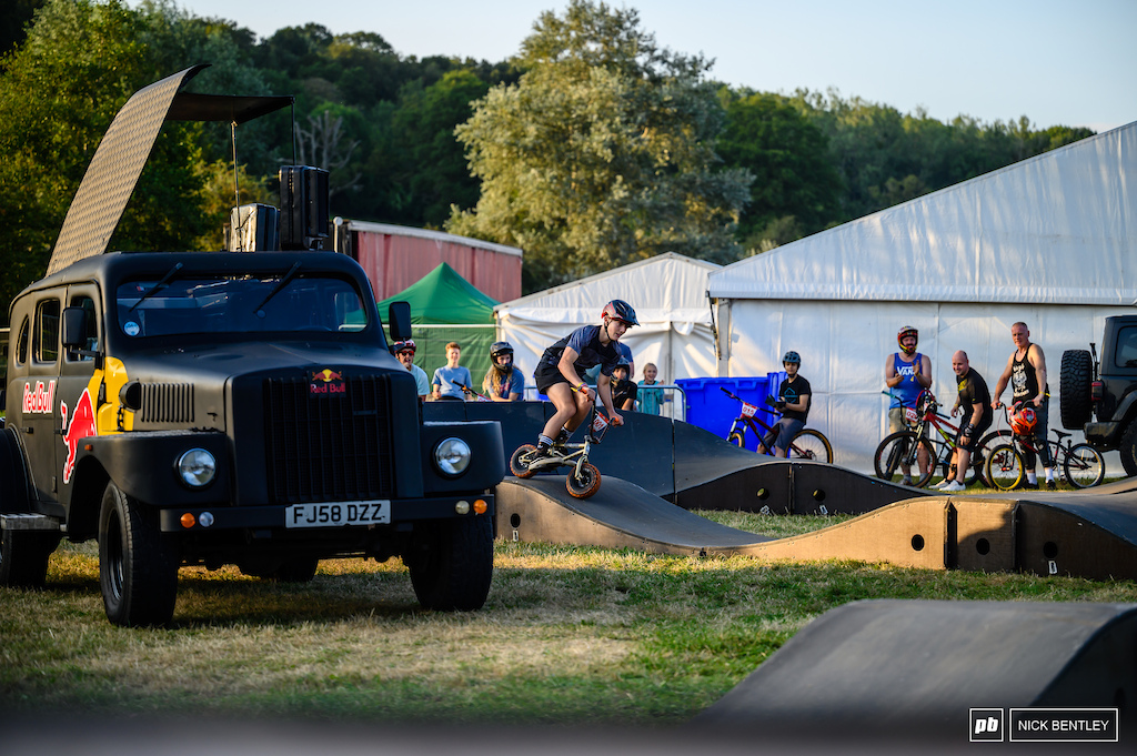Roy Morgan showing you can have fun on any bike on the pumptrack out sending it on the mini bike
