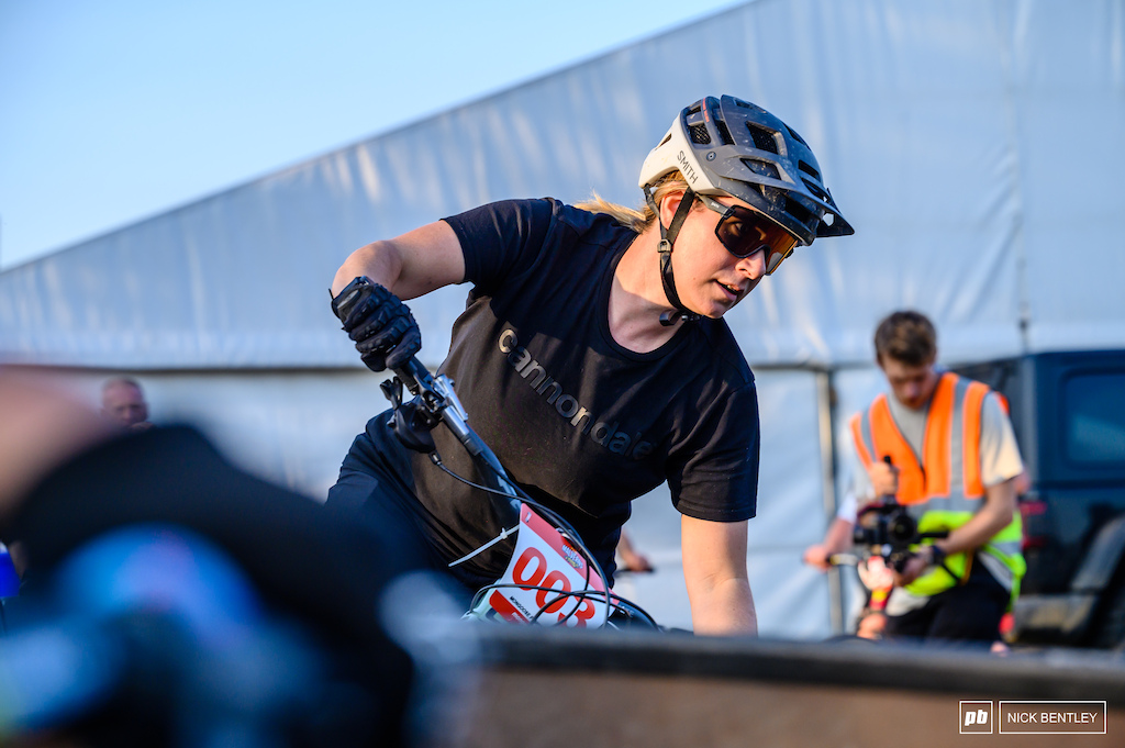 Liz Greaves running her enduro bike on the pumptrack was no easy task