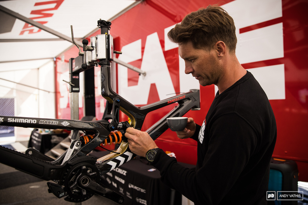 Greg Minnaar checking out the new build.