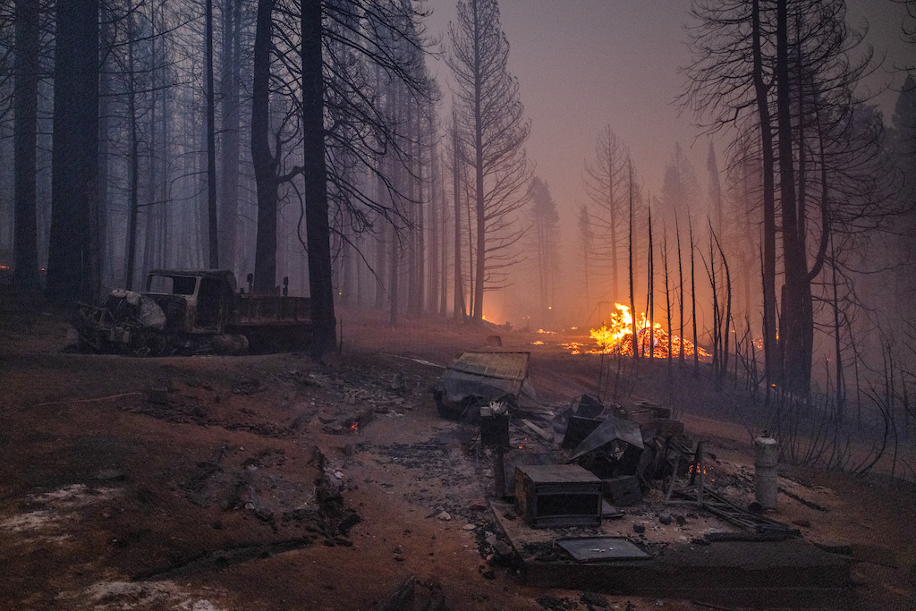 A home burned by the Caldor Fire near Pollock Pines California on August 17 2021. The fire has burned more than 22 000 acres destroyed homes and prompted the evacuation of over 7 000 residents.