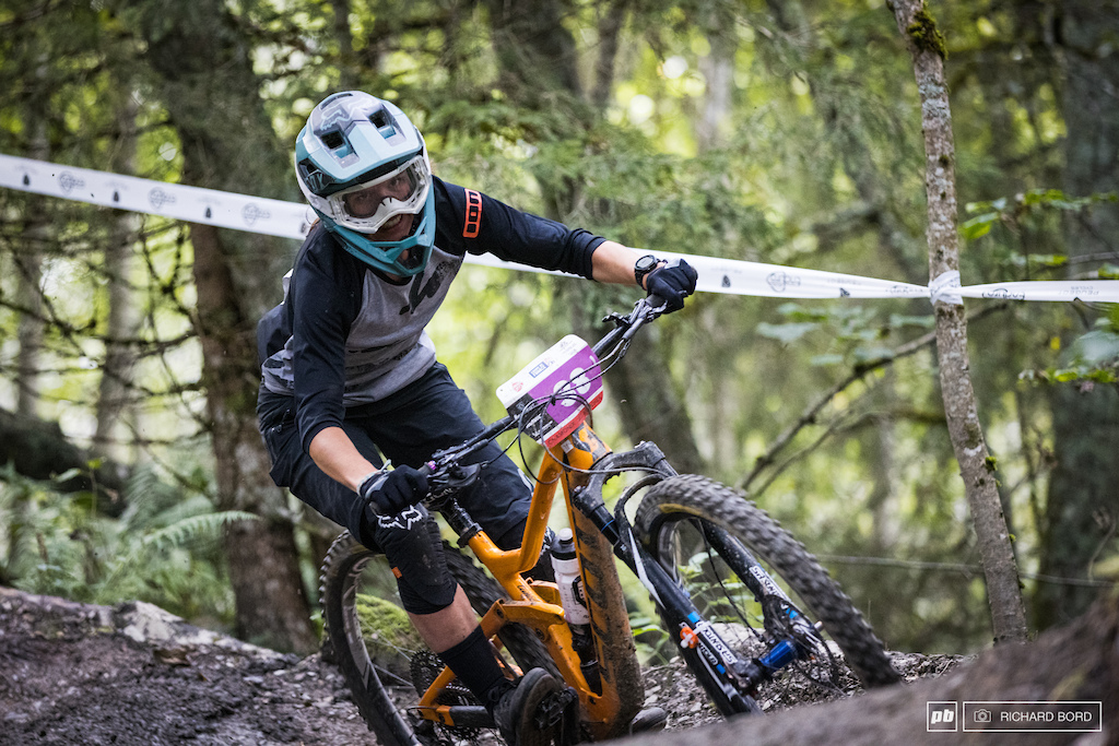 Enduro Series stages can be long and hard to ride. Cecile Delaire s face says it all.