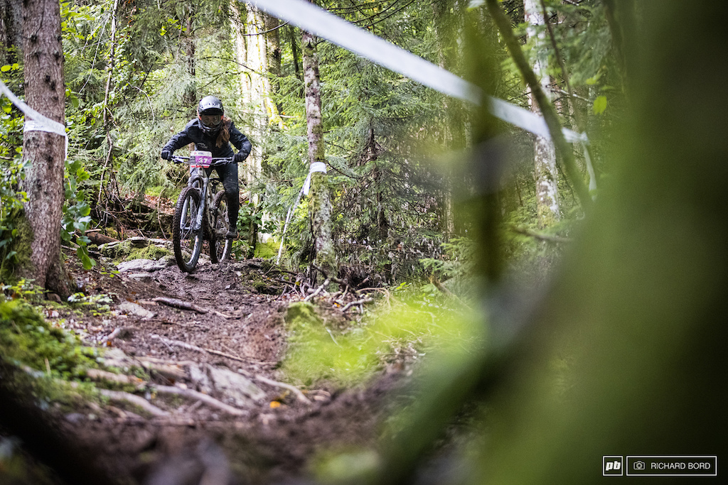 Juliette Willmann on her way to the top step of the podium for her first Enduro Series race.