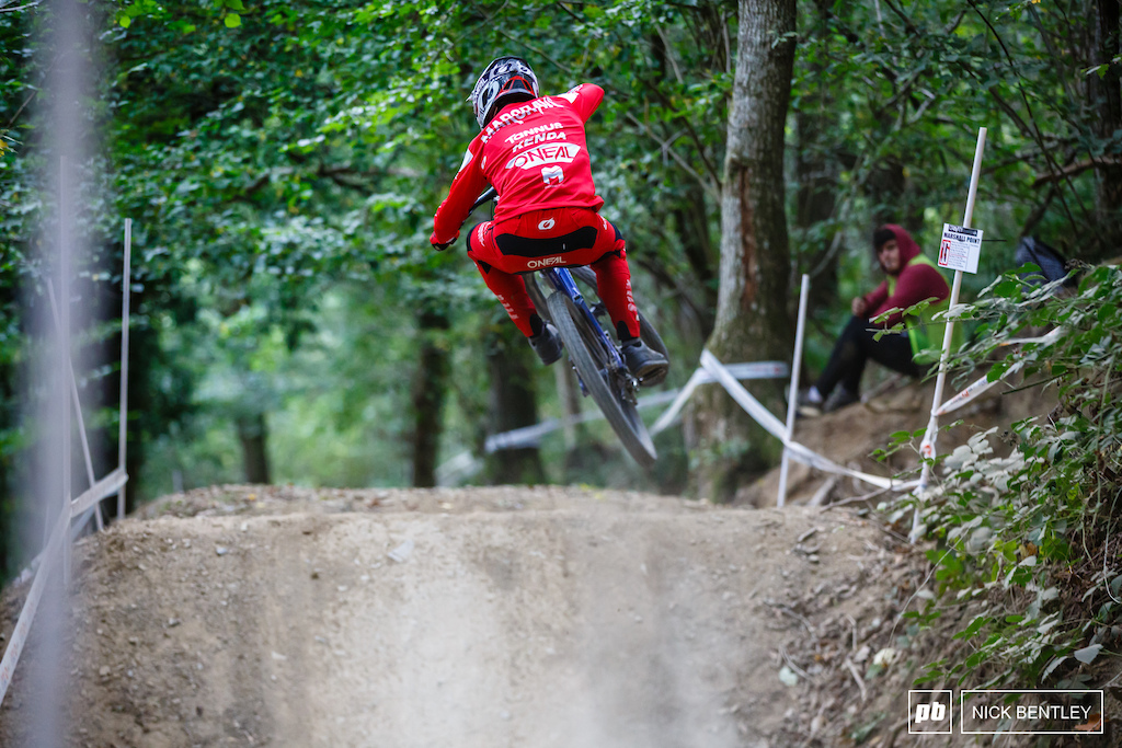 Sion Margrave squashing the jumps on the way to winning Expert Men